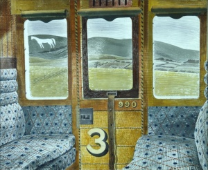 Train carriage and white horse